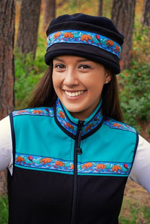 AURORA HAT / (Softshell) / Solid Black,  / Katmai-Teal (trim)