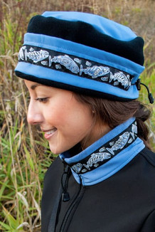 AURORA HAT / (Softshell) /  Twilight, Black,  / Salmon-Periwinkle (trim)