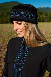 AURORA HAT / (Softshell) / Solid Black,  / Velvet-Lupine (trim)