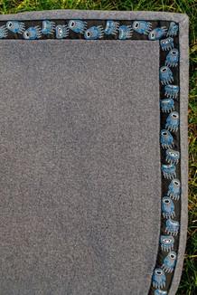 BLANKET - 5' x 5' / (Thermal Fleece) / Grey Heather,  / Bear Tracks-Blue (trim)