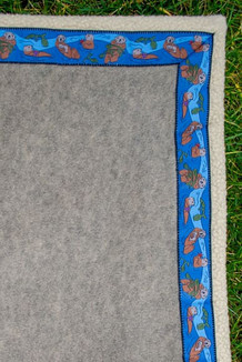 BLANKET - 5' x 5'  / (Double-Sided Thermal Fleece) / Sand, / Sea Otters-Navy (trim)