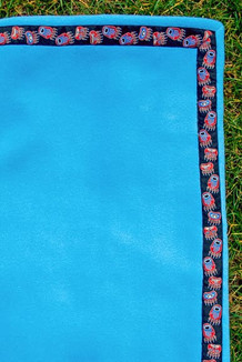 BLANKET - 5' x 5'  / (Thermal Fleece) / Brite Sky, / Bear Tracks-Red(trim)