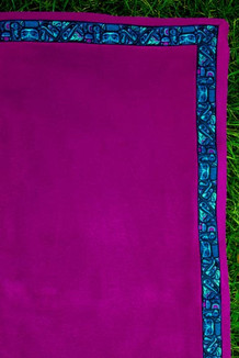 BLANKET - 5' x 5'  / (Thermal Fleece) / Plum, / Totem-Aqua (trim)