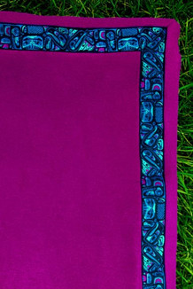 BLANKET - 5' x 5'  / (Double-Sided Thermal Fleece) / Plum, / Totem-Aqua (trim)
