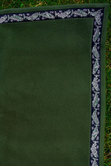 BLANKET - 5' x 5'  / (Thermal Fleece) / Bay Leaf, / Salmon-Green (trim)