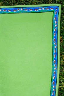 BLANKET - 5' x 5'  / (Thermal Fleece) / Meadow, / Sandpipers-Lime (trim)