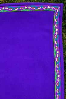 BLANKET - 5' x 5'  / (Thermal Fleece) / Purple, / Sandpipers-Razzle (trim)