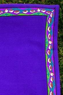 BLANKET - 5' x 5'  / (Double-Sided Thermal Fleece) / Purple, / Sandpipers-Razzle (trim)