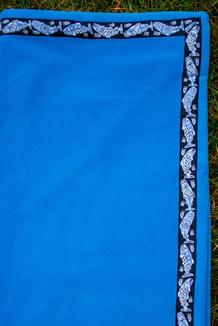 BLANKET - 5' x 5'  / (Thermal Fleece) / Midsummer Blue, / Salmon-Periwinkle (trim)