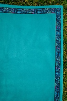 BLANKET - 5' x 5'  / (Thermal Fleece) / Turquoise, / Totem-Aqua (trim)