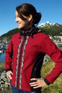 ARCTIC JACKET / - SALE - CLOSEOUT - (Softshell) / Garnet, Black, / Salmon-Red (trim)