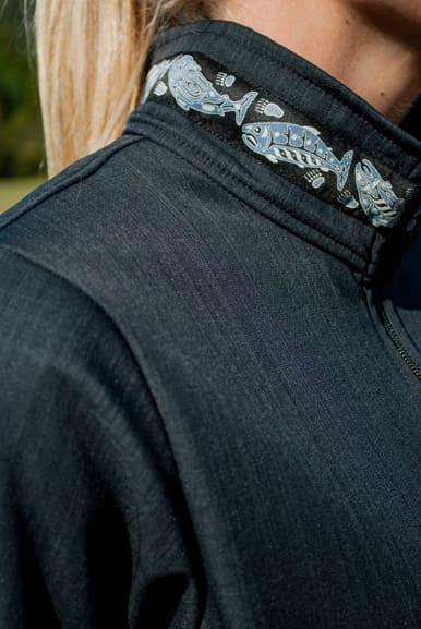 Close up of Collar trim added
