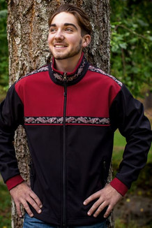 KODIAK JACKET / (Softshell) / Black, Brick Red, / Salmon-Red (trim)