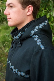 KODIAK JACKET / (Softshell) /  Solid Raven, / Bear Tracks-Blue (trim)