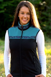 WOMEN'S KODIAK VEST / (Softshell) / Black, Glacier, / Totem-Aqua (trim)