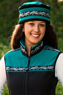 WOMEN'S KODIAK VEST / (Softshell) / Black, Teal, / Salmon-Grey (trim)