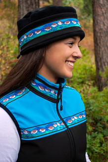 WOMEN'S KODIAK VEST / (Softshell) / Black, Sky, / Sandpipers-Teal (trim)