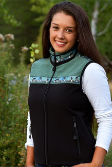 WOMEN'S KODIAK VEST / (Hybrid)  / Black, Seafoam Tweed, / Loons-Green (trim)
