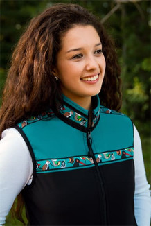 WOMEN'S KODIAK VEST / (Softshell) / Black, Teal, / Alaska Chatter-Teal (trim)