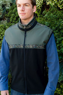 MEN'S KODIAK VEST / (Softshell) / Black, Moss, / Totem-Tan (trim)
