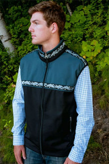 MEN'S KODIAK VEST / (Softshell) / Black, Slate,  / Salmon-Navy (trim)