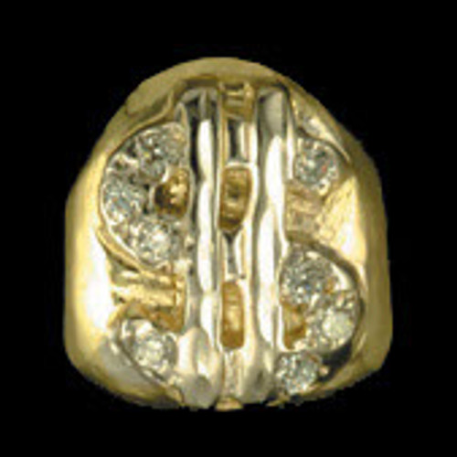 ChiGrillz Single Diamond Goldteeth Doallar Sign Grillz Style-0031 One Gold Tooth Grill With Embedded Iced Out Dollar Sign