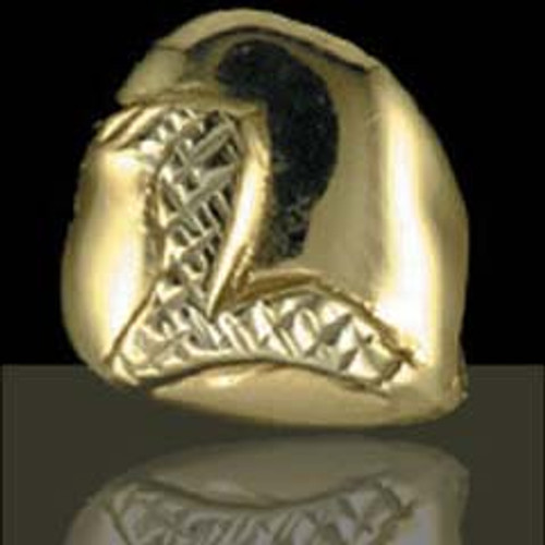 ChiGrillz Grillz Style-0131 One Gold slug dental gold tooth cap with engraved Diamond Cut Letter L