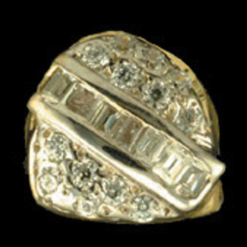 ChiGrillz Diamond Grillz Style-0071 One Iced out Gold Tooth Slug with round diamonds and princess cuts