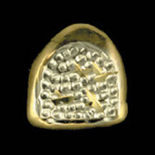 ChiGrillz Diamond Cut Grillz Style-0015 One Single Slug Gold Tooth Grills Cap With Trillion Cuts