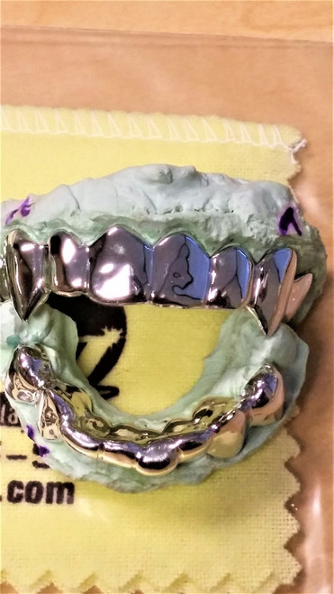 ChiGrillz Style YG16Cap 16 Cap gold teeth top and bottom grillz sets 16 teeth