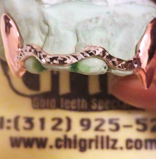 ChiGrillz Diamond Grillz Style-YS0723 2 Cap Goldteeth Custom Solid Curved Diamond Cut Bridge Bar