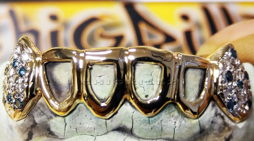 ChiGrillz Diamond Grillz Style-Ys0703 6 Cap Goldteeth Openface 20 diamonds