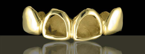 Chigrillz Open Face Grillz Style-0219 4 Cap Goldteeth open face and solid gold teeth