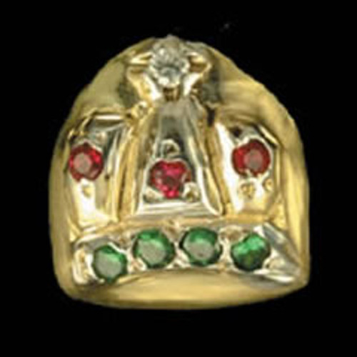 ChiGrillz Diamond Tooth Grillz Style-0032 Single gold tooth cap with Kings Crown design