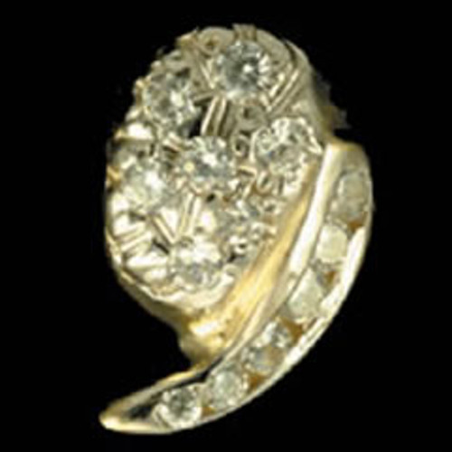ChiGrillz Diamond Grillz Style-0046 Single Gold tooth with diamond cluster design