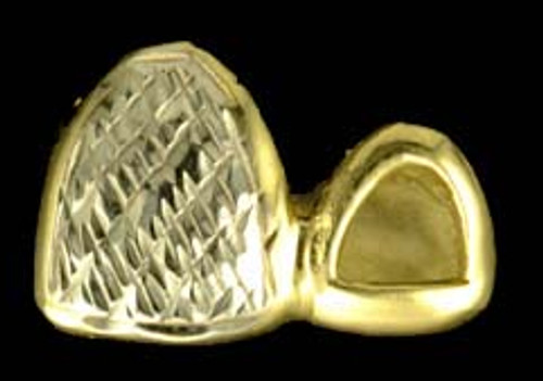 ChiGrillz Diamond Cut Grillz Style-0148 2 Cap Goldteeth Diamond Cut and open face