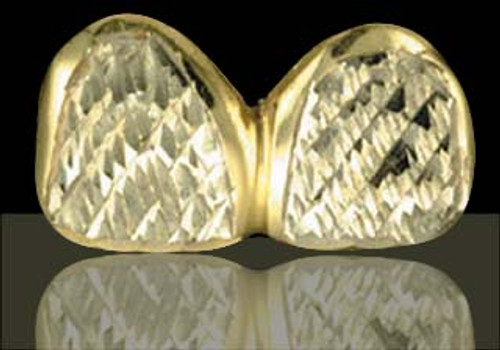 Chigrillz Diamond Cut Grillz Style-0152 2 Dental Cap Gold Teeth Slugs w Diamond Cut Design Grills