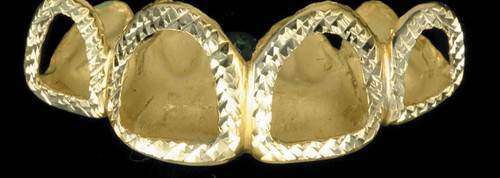 ChiGrillz Diamond Cut Grillz Style-0182 4 Gold Caps with diamond cut trim and open faces