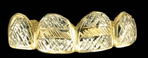 ChiGrillz Diamond Cut Grillz Style-0184 4 Cap Gold Teeth Grillz Diamond Cut Design