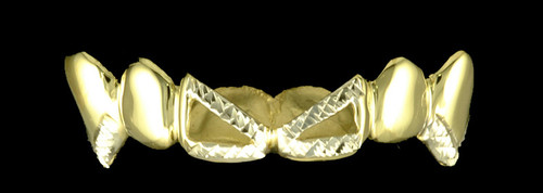Chigrillz Diamond cut Grillz Style-0257 6 Cap Goldteeth Cut off Open Face Center Diamond Cut Design w medium fangs Grillz