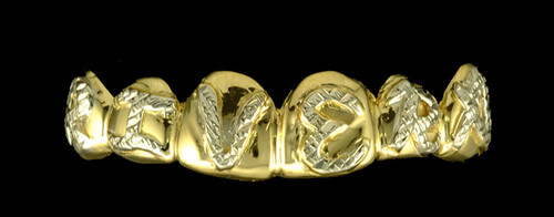 Chigrillz Letter Grillz Style-0265 6 goldteeth cap grillz Puff up Name Word or Initials