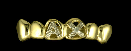 ChiGrillz Diamond Cut Grillz Style-0285 6 Cap Diamond cut letters and 1 center diamond