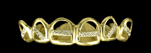 Chigrillz Style-0287 Open Face Center Bar Diamond Cut Design Grillz