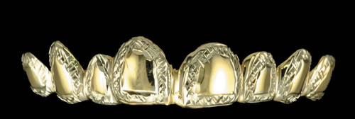 Chigrillz Style-0300 8 gold caps with diamond cut trim