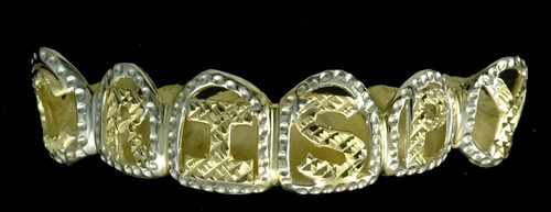 Chigrillz Letter Grillz Style-0361 6 gold teeth caps w diamond cut frames and initials