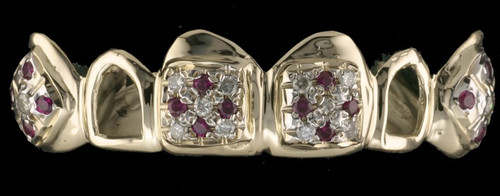 Grillz Style-0414 6 gold caps with 16 Ruby Diamonds and 20 Clear 2pt stone Diamond Grillz