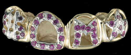 Chigrillz Diamond Grillz Style-0437 4 caps Gold diamonds in open face assorted design