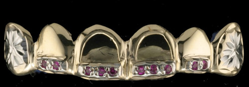 ChiGrillz Diamond Grillz Style-0446 6 gold caps with sunburst diamond cut , open faces and 10-2pt rubies 450