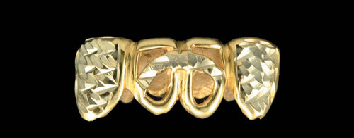 ChiGrillz Diamond Cut Grillz Style-0194 4 goldteeth caps with diamond cut design and curved bar on open face caps