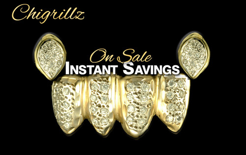 Style-2004 St. Paddy's Day Celebration Grillz Sale 2 Diamond Grillz Caps on top with small fangs 4 Diamond Grillz Caps on bottom.  58 diamonds in all.  ChiGrillz Green Day Grillz Sale